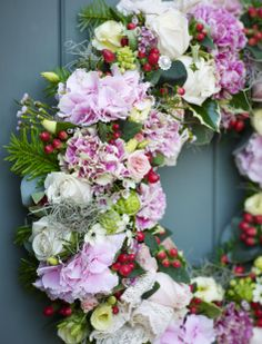 Lovely fresh pink #christmas wreath