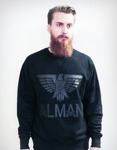 fancy alman classic eagle sweater - black on black - FANCY ALMAN