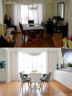 Decoración nórdica en reforma de salón comedor, antes y después