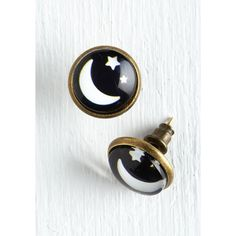 Cosmic Spaced Haute Earrings by ModCloth ($9.99) ❤ liked on Polyvore featuring jewelry, earrings, accessories, black, brass earrings, earring jewelry, sports jewelry, stud earrings and galaxy earrings