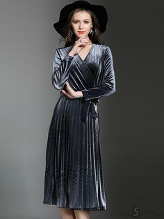 Buy Chic V-Neck Long Sleeve Velour Skater Dress at DressSure.com Color:Gray; Size:S, M, L, XL, 2XL; Material:Polyester; Style:Casual; Silhouette:A-Line Dresses; Dresses Length:Mid-Calf; Sleeve Length:Full; Sleeve Style:Regular; Neckline:V-Neck; Waistline:Empire; Decoration:Draped; Pattern Type:Solid; Price: US$ 48.99