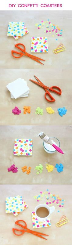 DIY coasters with confetti is part of Easy crafts With Mod Podge - There are a million ways you can transform plain white tiles into DIY coasters with Mod Podge and tissue paper confetti is one of them! Easy Diy Crafts, Crafts To Do, Diy Craft Projects, Craft Tutorials, Craft Ideas, Diy Ideas, Diy Confetti, Paper Confetti, Mod Podge Crafts