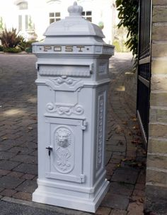 Post Box - Grand Pillar Freestanding Cast Aluminium Letter Mail Box In White Wedding Post Box, Wedding Reception Cards, Wedding Boxes, Wedding Cards, Wedding Stuff, Victorian Mailboxes, Antique Mailbox, Victorian Fashion, Vintage Fashion