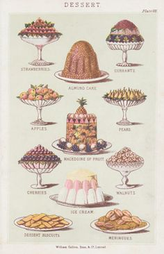 Food illustrations throughout history Victorian Recipes, Victorian Cakes, Victorian Era, Victorian Houses, Victorian Fashion, Vintage Cooking, Vintage Food, Vintage Hats, Vintage Ephemera