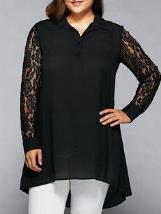 Lace Sleeve High Low Hem Shirt