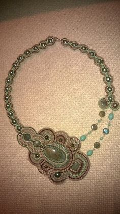 Elegant necklace mint& beige color soutache with by ISsmykke