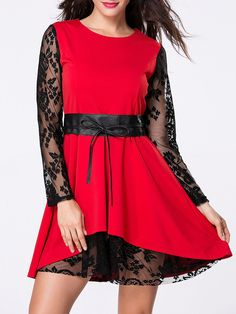 Round Neck Lace Patchwork Skater Dress Only $24.95 USD More info...