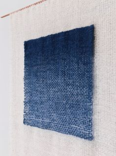 Indigo Gradient weaving by Mimi Jung Weaving Textiles, Textile Fabrics, Weaving Art, Tapestry Weaving, Loom Weaving, Hand Weaving, Textile Fiber Art, Weaving Projects, Woven Wall Hanging