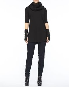 Viscose Jersey Half-Sleeve Tunic, Stretchy Jean Leggings, Sparkle Knit Infinity Scarf & Sparkle Knit Glovettes, Eileen Fisher