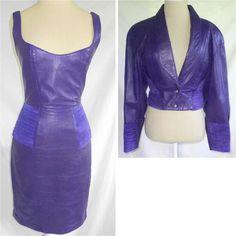 North Beach Jacket Corset Dress Jacket Set Leather Orchid Peplum Vintage NOS 8 S #northbeachleatherMichaelHoban