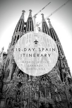 The Curated Travel's 12-Day Spain Itinerary. Jamón, cathedrals, wine, and tapas. View this itinerary for a complete tour of the greatest sights in Madrid, Seville, Granada, and Barcelona. #Spain   #travel