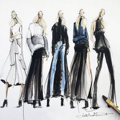 Jeanette Getrost Even when Jeanette is illustrating more masculine clothing or darker colours, the use of watercolour allows her to keep the femininity and softness, a thread that runs through all of her works. Illustration Mode, Fashion Illustration Sketches, Fashion Sketchbook, Fashion Sketches, Fashion Artwork, Fashion Design Drawings, Silhouette Mode, Fashion Business, Fashion Figures