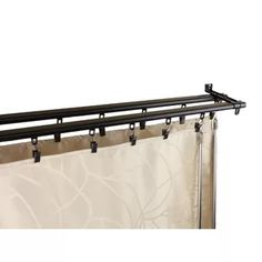 Symple Stuff Bemidji Double Curtain Track Finish: Black, Size: - W Patio Curtains, Hanging Curtains, Valance Curtains, Sliding Door Curtains, Double Curtains, Home Renovation, Home Remodeling, Basement Doors, Room Divider Curtain