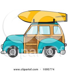 Clipart Turquoise Woodie Station Wagon With A Surfboard On Top - Royalty Free Vector Illustration by Dennis Cox