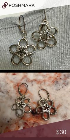 Brighton Earrings Never worn flower dangle earrings with sparkly Swarovski crystals in the center. Pretty for spring 🌸🌷 Brighton Jewelry Earrings