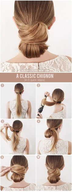 Choose a stunning bridal updo tutorial to perfect your wedding day look, such as this classic chignon hairstyle via @tbdofficial.