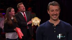 James Corden surprises staff member with gloriously awkward game of Live Tinder