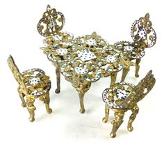 Vintage Enamel Doll House Table & Chairs
