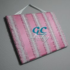 Large Satin & Lace Hair Clip Board  Pink White and by GCBaby