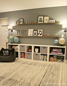 HUGE empty wall transformed into pretty game and toy storage! - HUGE empty wall transformed into pretty game and toy storage! HUGE empty wall transformed into pretty game and toy storage! from Thrifty Decor Chick Playroom Design, Playroom Decor, Kid Decor, Ikea Kids Playroom, Kids Room, Decor Ideas, Gray Playroom, Playroom Paint Colors, Game Room Kids