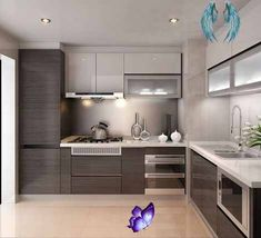 singapore interior design kitchen modern classic kitchen partial open Related image<br> Neutral Cabinets, Grey Cabinets, Kitchen Cabinets, Eclectic Kitchen, Kitchen Modern, 3d Kitchen Design, Classic Kitchen, First Apartment Decorating, Butcher Block Countertops