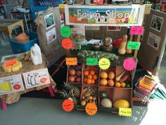Role play farm shop with real ffruit and veg kids love it.