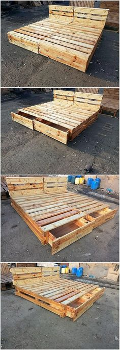 A beautiful and artistic simple funky bed with storage drawers design has been c. - A beautiful and artistic simple funky bed with storage drawers design has been crafted here with th - Wood Pallet Beds, Diy Pallet Bed, Diy Pallet Projects, Wooden Pallets, Pallet Ideas, Pallet Patio, Wood Projects, Bed Pallets, Pallet Couch