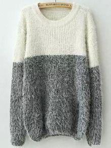 pull duveteux col rond -blanc gris