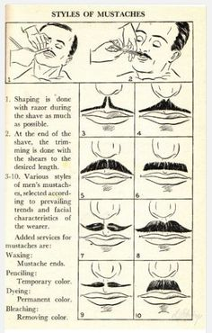 Vintage Guide To Shaving A Mustache (cir. 1930)