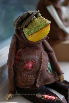 Купить Мистер ДендЖЖ - комбинированный, жаба, кепка, лягушка, Будуарная кукла, Ладолл, ЛивингДолл, папьемаше
