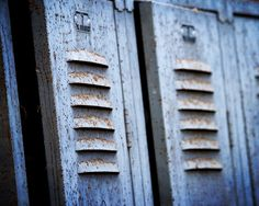 Old Blue Rusty Lockers 8x10 photograph rustic by NostalgiaCaptured, $25.00