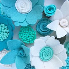 Colors of the sea #handmade #feltflowers #flowers #blue #mint #teal #etsy #etsyshop