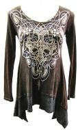 100% distressed brown cotton long sleeve shirt with a cross design and crystal applique