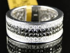 10K Mens  White Gold Black White Diamond Engagement Wedding Band Ring 1ct | eBay