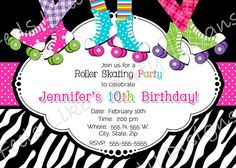 Bold and Bright roller skating party invitation. This design is perfect for girls of all ages. The wording can be fully customized to fit your