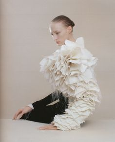 viktor - white silk gazar asymmetrical sleeve