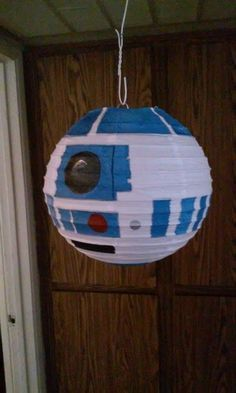 R2D2 Paper Lantern created for my kids party. Painted design on a paper lantern. Fun Project. Star Wars R2-D2 Craft