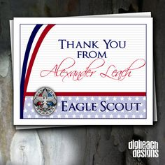 DIGITAL FILE ONLY – CUSTOMIZED AND EMAILED TO YOU. THIS IS NOT AN INSTANT DIGITAL DOWNLOAD THAT YOU EDIT YOURSELF.  Create lasting memories of your new Eagle Scout's medal presentation ceremony from start to finish with a personalized thank you note which coordinates with the personalized invitation. This note card coordinates with Eagle Scout Court of Honor Invitation: Stars and Curves.  This listing is only for the thank you note digital file which will be emailed to you after…