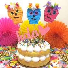 Day of the Dead Sugar Skull Cake Toppers!  #caketopper #dayofthedead #sugarskull #bookoflife #calavera #cincodemayo #mexican #fiesta