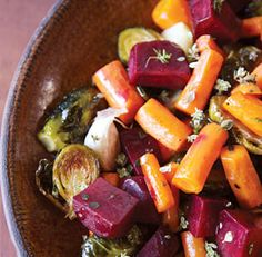 Jewel Roasted Vegetables; I've never tried beets or Brussels sprouts, but this looks really good! Note: I am not fond of Brussels Sprouts. They were ok in this recipe, but I need to find something else green for this recipe to be a keeper.
