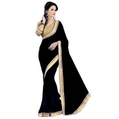 #Triveni Adorable Black Border Worked #Chiffon #Saree only at Rs.638 #Stunning