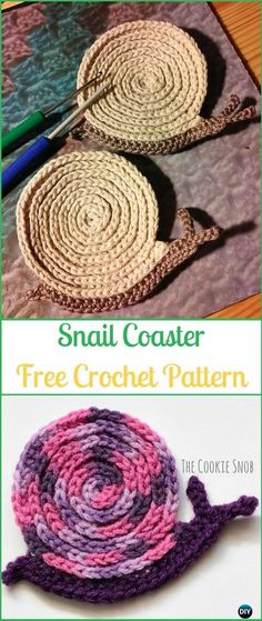 Crochet Snail Coaster Free Pattern - Crochet Coasters Free Patterns
