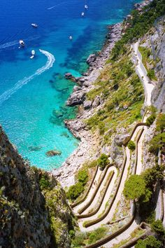 Located just off the Amalfi Coast, the entire island of Capri is full of picturesque spots. To capture this iconic shot of rocky cliffs meeting the sea, head to the Augustus Gardens where this switchback path of Via Krupp leads down to the Marina Piccola.
