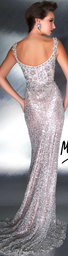 Mac Duggal couture - nude/silver dress Thin jeweled straps lead to the beaded and embellished bodice. The opulent style is body conscious and covered in unique knotted lace. A pretty sweep train completes this incredible dress. Mac Duggal, Evening Dresses, Prom Dresses, Wedding Dresses, Dresses 2016, Gown Wedding, Beautiful Gowns, Beautiful Outfits, Elegant Dresses