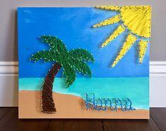 Beach scene string art