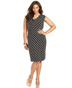 Calvin Klein Plus Size Dress, Sleeveless Striped A-Line - Shop the Trends - Plus Sizes - Macy's