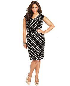 Calvin Klein Plus Size Dress, Sleeveless Striped A-Line - Shop the Trends - Plus Sizes - Macy's