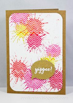 White embossed chevron BG coloured with dabbed splots of Distress Stains