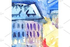 Watercolor illuminated street town by Art By Silmairel on @creativemarket