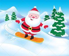 Snowboarding Santa Claus  #graphicriver: